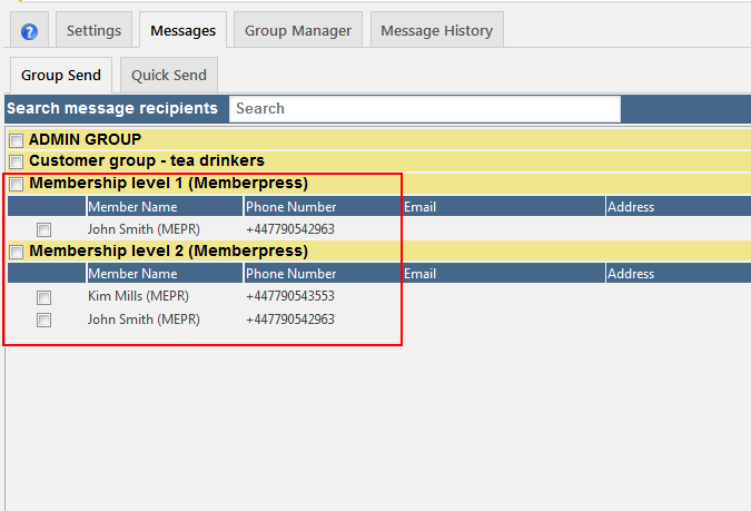 MemberPress integration on the Messages tab