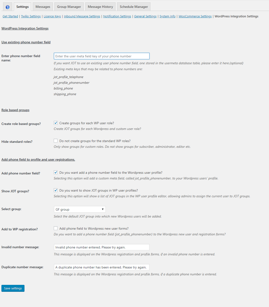 JOT WordPress Integration Settings